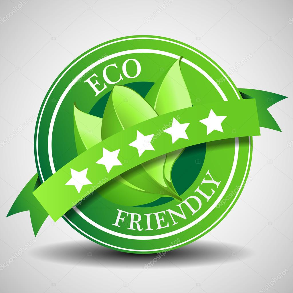 Green Five Star Eco Friendly Label or Badge Template
