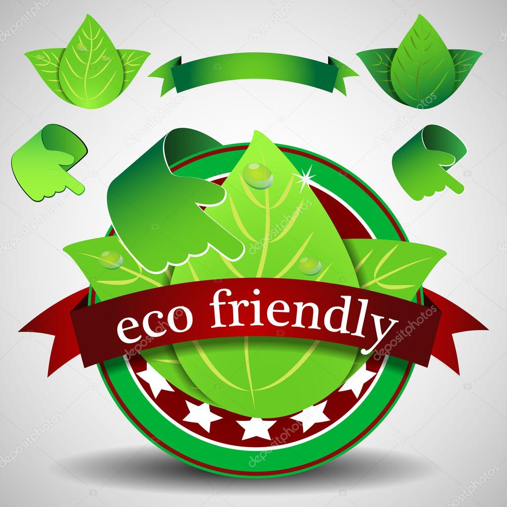 Green Eco Friendly Label or Badge, Ecological Template Clipart