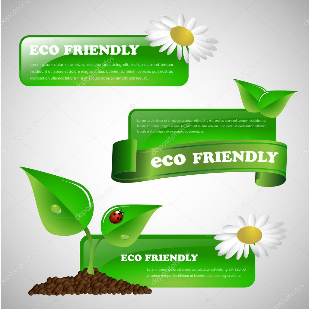 Green Environmentally Friendly Banner or Design Element Collection
