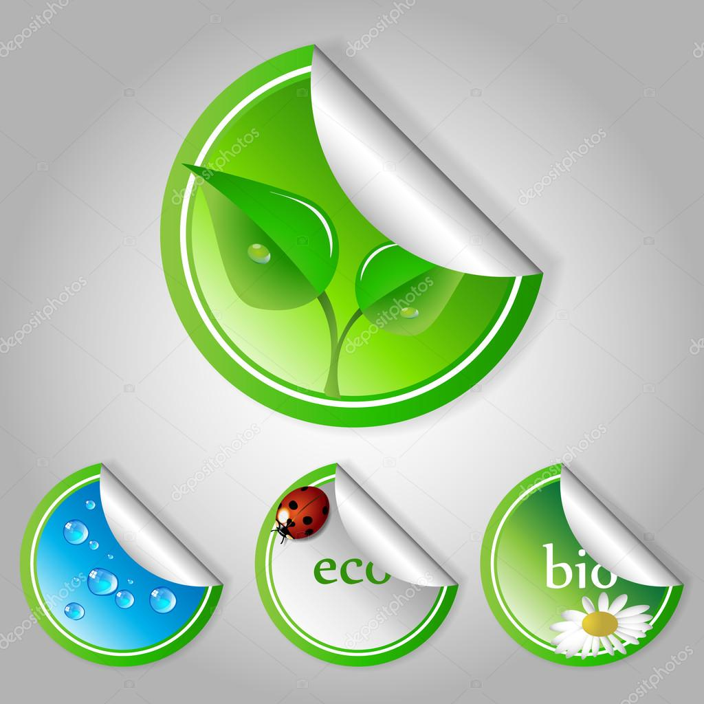 Green Eco Labels and Stickers