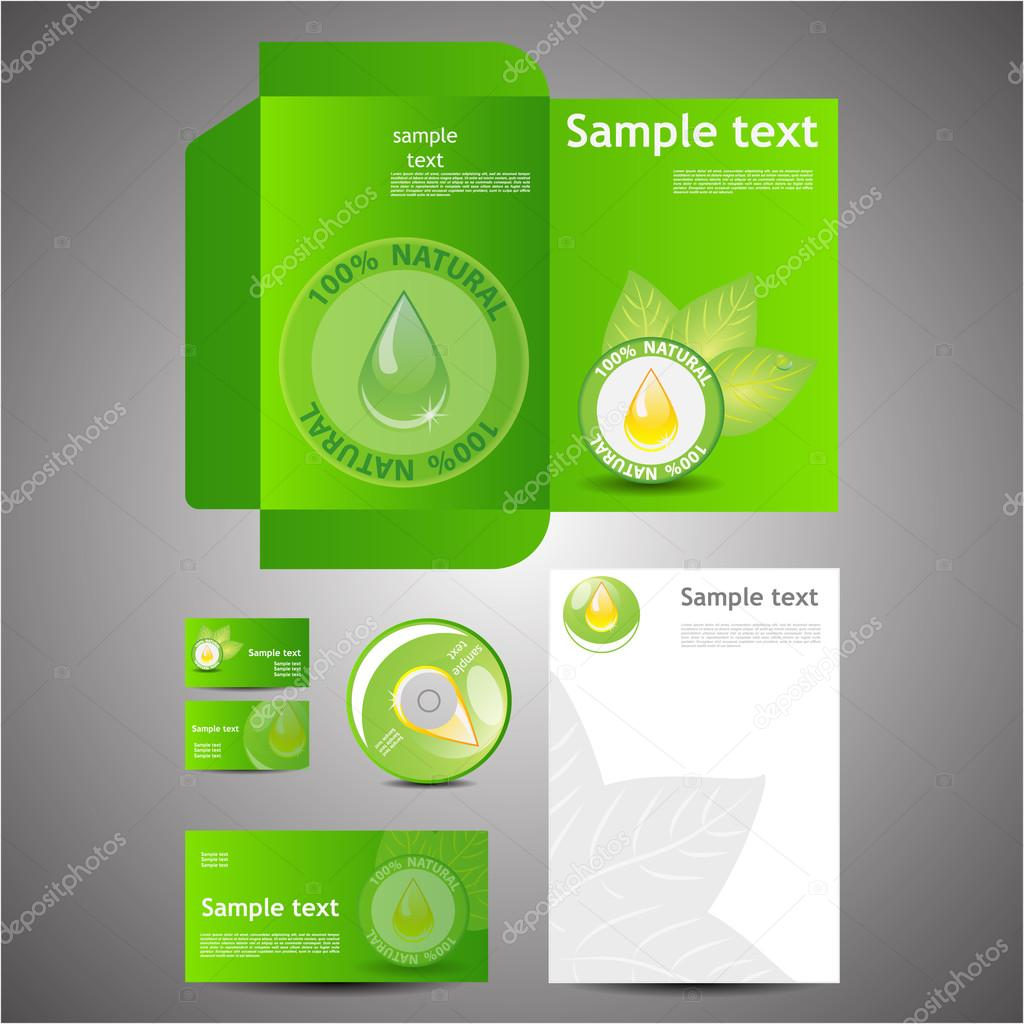 Eco Corporate Design Template Set - Folder, Business Card, Cd, Note Paper, Envelope