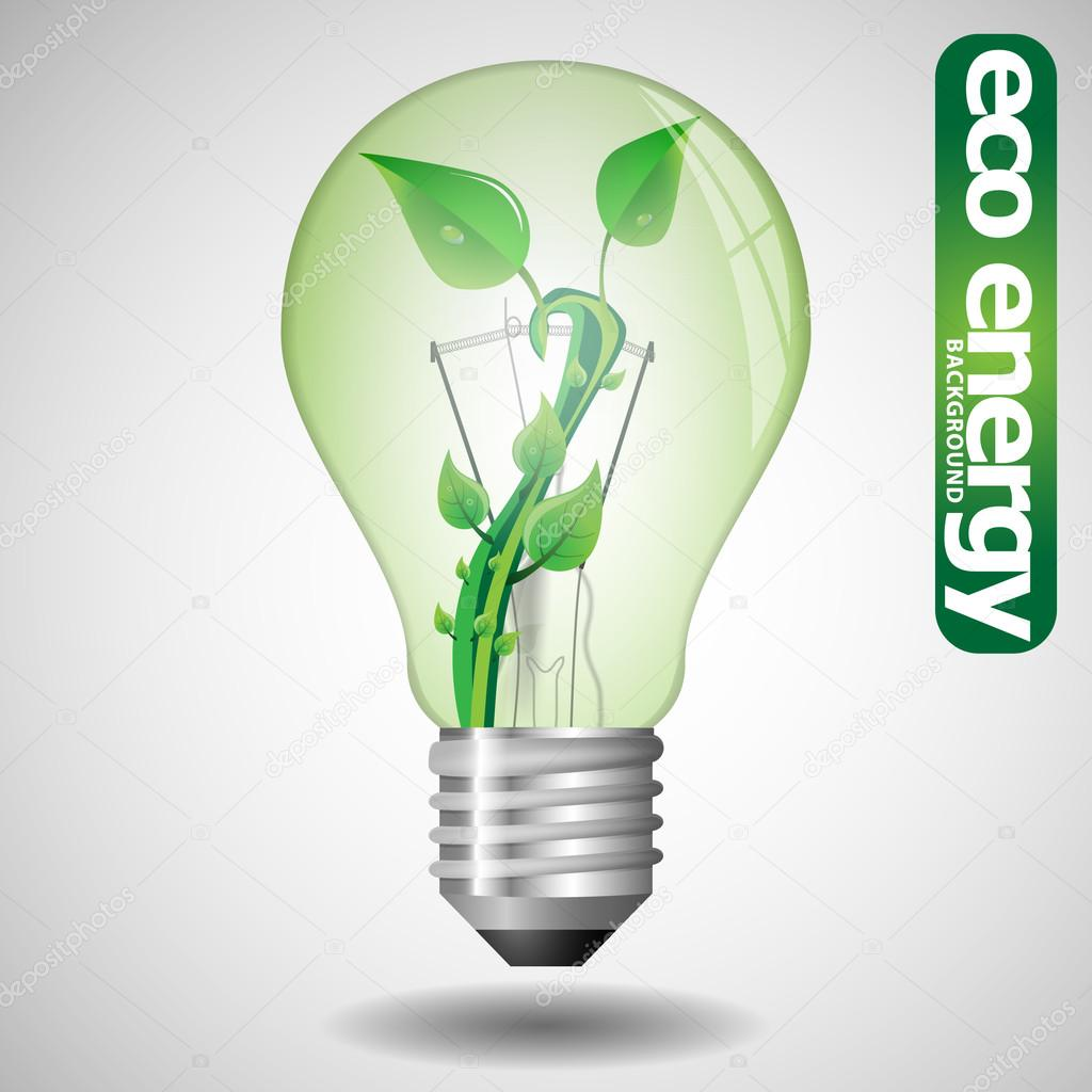 Eco Bulb Concept With Leaves