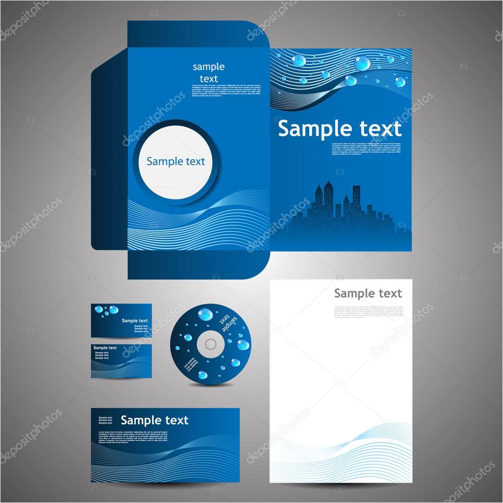 Eco Business Design Template Set: Business Card ,Disk, Note Paper, Folder, Envelope