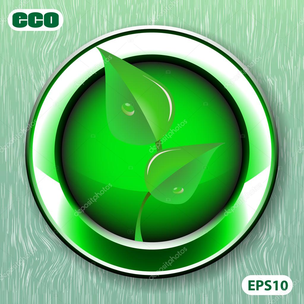 Green Eco Friendly Label or Button Template