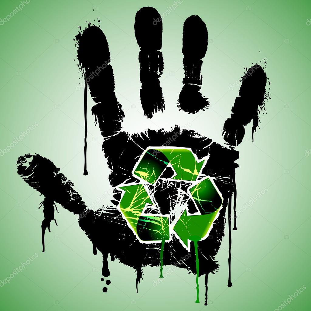 Caution - Stop Pollution - Dirty Hand with Recycling Symbol - Ecological Concept