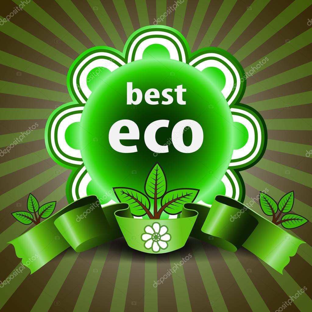 Best Eco - Green Retro Styled Eco Friendly Satisfaction Guarantee or Quality Commitment Label, Icon, Tag or Badge Template for Business or Promotion