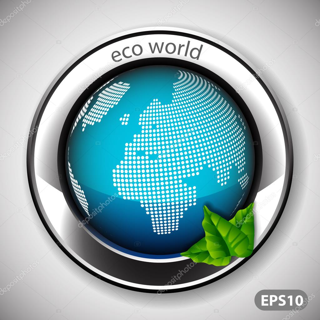 Eco World - Label with Earth Globe