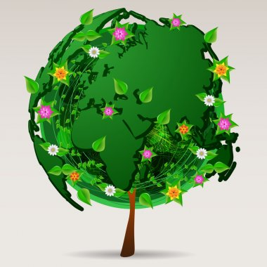 Save the World - Green Eco Tree Design - Worldwide Environmental Protection Icon or Logo Concept