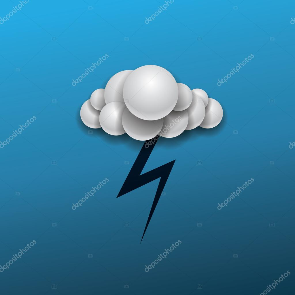 Abstract Weather Icon Design - Cloud and Lightning in The Dark Blue Sky