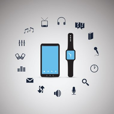 Electronic Devices Mobile Phone with Smart Watch - Cloud Computing Design
