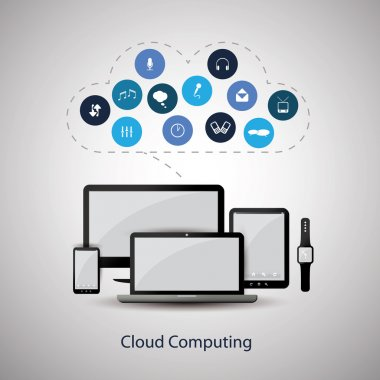 Cloud Computing Concept Design with Icons in the Cloud Representing Various Kinds of Digital Media Service and Global Storage System