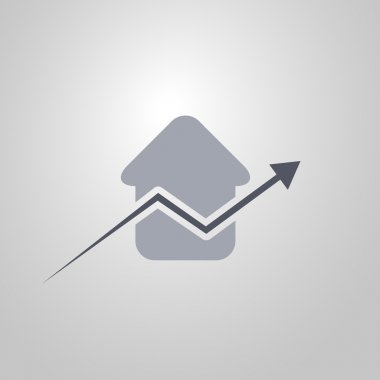 Real Estate Concept Icon with Arrow - Upward Trend - Flat Design