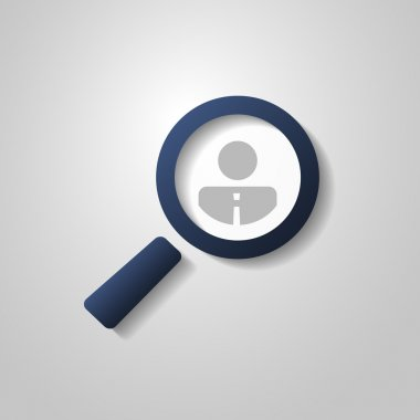 Human Resources, Personal Audit, Headhunter Symbol Design with Magnifier Icon