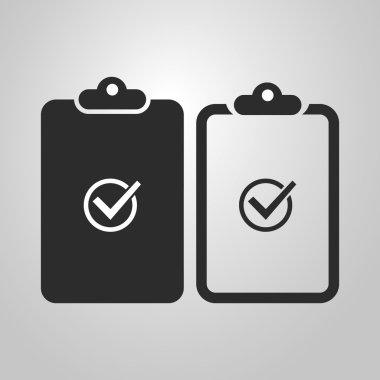 Checklist Icon Design, Black and White, Linear Version