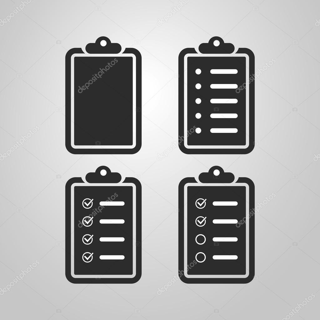 lista de verificación blanco y negro icono diseño conjunto — Vector ...