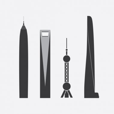 Collection of Icons of Four Towers and Skyscrapers