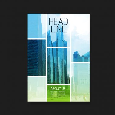 Flyer or Cover Design with Skyscrapers, City View