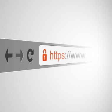 3D Browser Address Bar Design with HTTPS Protocol Sign