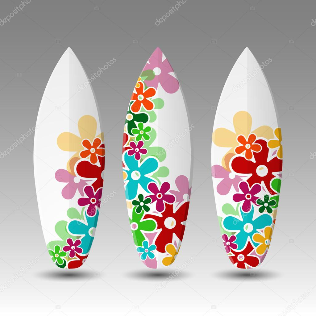 Surfboards Design Template with Floral Pattern — Stock Vector ...