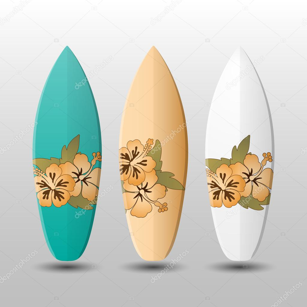 Surfboards Design Template with Flowery Pattern — Stock Vector ...