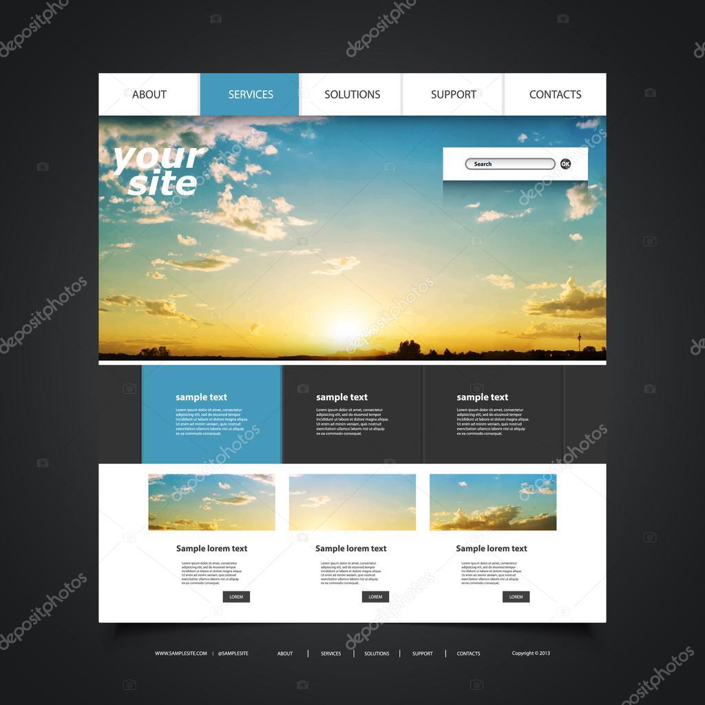 Website-Design-Vorlage für Ihr Unternehmen mit Sonnenuntergang Bild ...