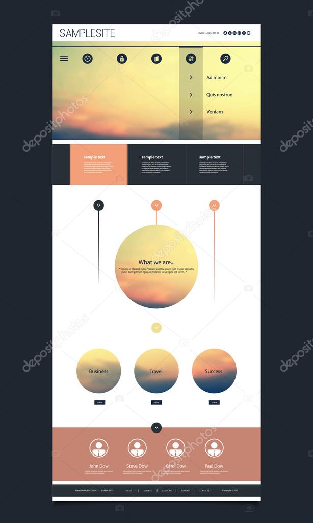 Modern Colorful Abstract Web Site, Flat UI or UX Layout Creative Design Template - User Interface, Icon, Label and Button Designs, Sunset Banner Element Set for Your Business Home Page or Blog with Copyspace, Illustration in Editable Vector Format stock vector