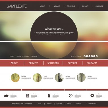Website Template with Abstract Blurred Header Design Concept