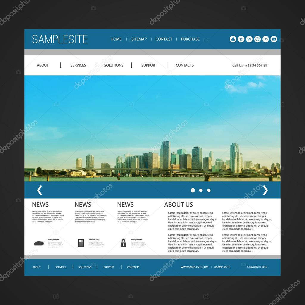 Plantilla de sitio web con diseño exclusivo - Miami Skyline — Vector ...