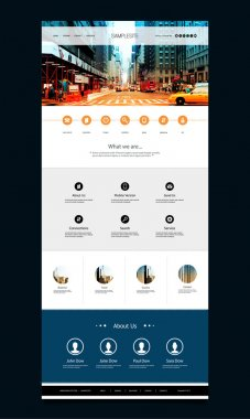 One Page Website Template with City Street View Header Image Design