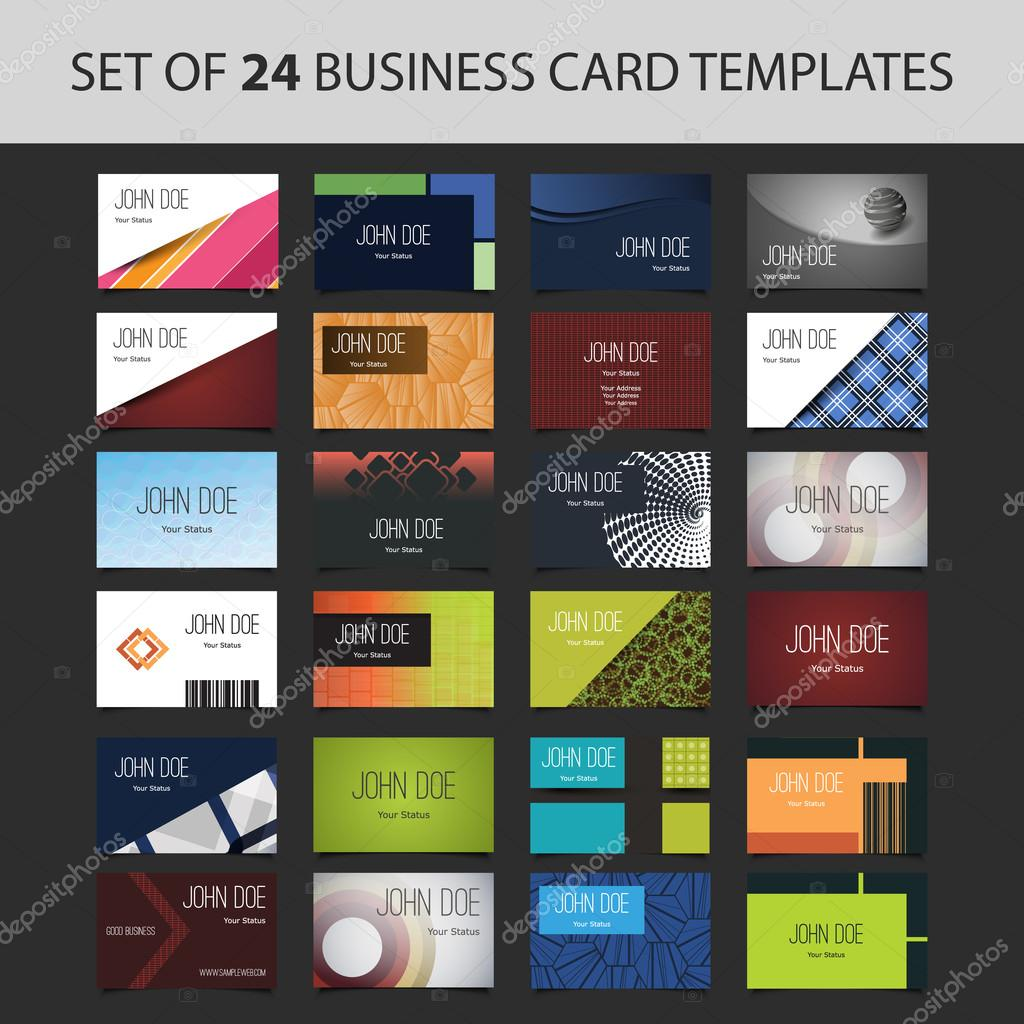 Set of 24 Business Card Templates - Colorful Backgrounds and Designs ...