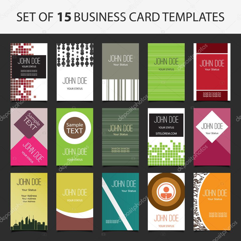 15 Cartes De Visite Verticales Colorees Illustration Stock