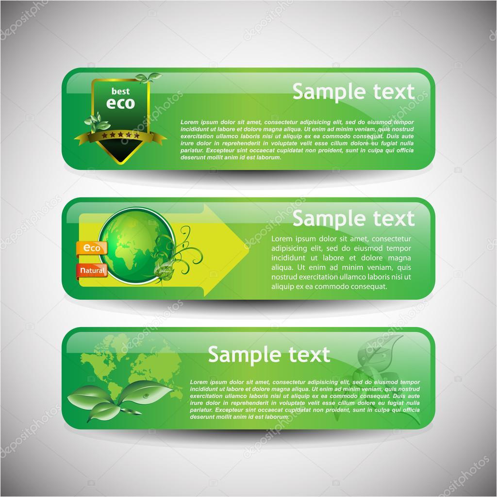 Colorful Eco Banner Set - Vector Illustration