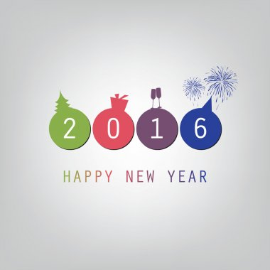 Best Wishes - Modern Simple Minimal Happy New Year Card or Cover Background Template - 2016