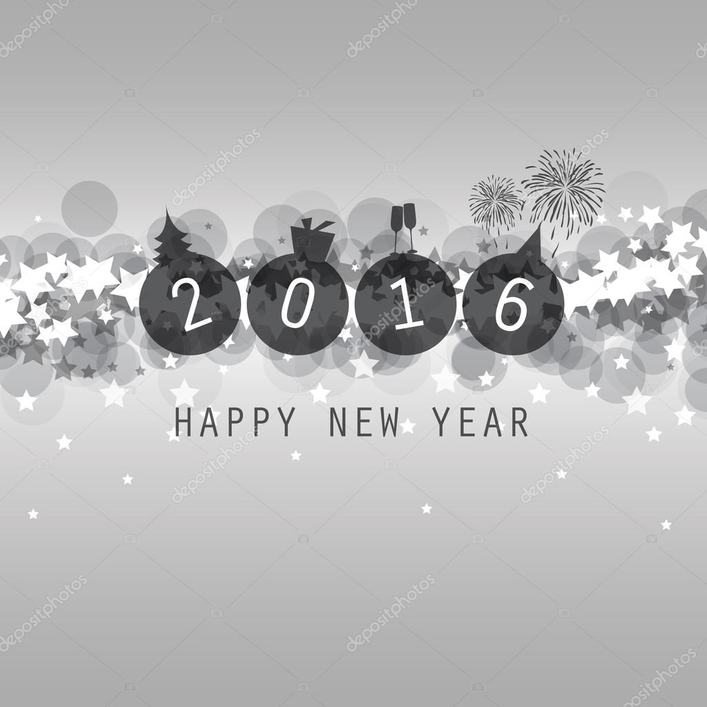 New Year Card, Cover or Background Template - 2016