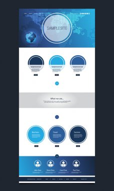 One Page Website Template with Earth Globe, World Map Header Design