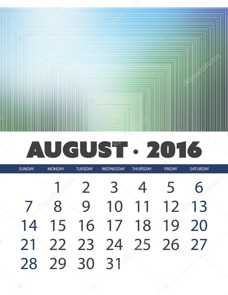 Monatskalender: August 2016 Vorlage mit bunten abstrakt - Vektor ...