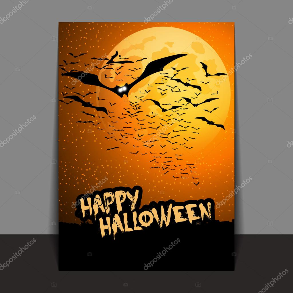 halloween flyer or cover design with lots of flying bats over the