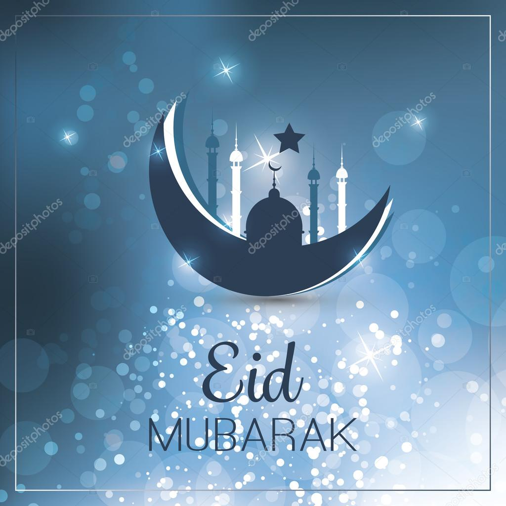 Eid mubarak moon in the sky greeting card for muslim community best wishes blue greeting card template with abstract sparkling background creative design in freely scalable and editable vector format vector by kristyandbryce Image collections