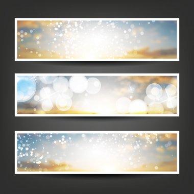 Set of Horizontal Banner or Header Background Designs - Colors: Blue, Brown, Silver, White - For Party, Christmas, New Year or Other Holidays, Ad Templates