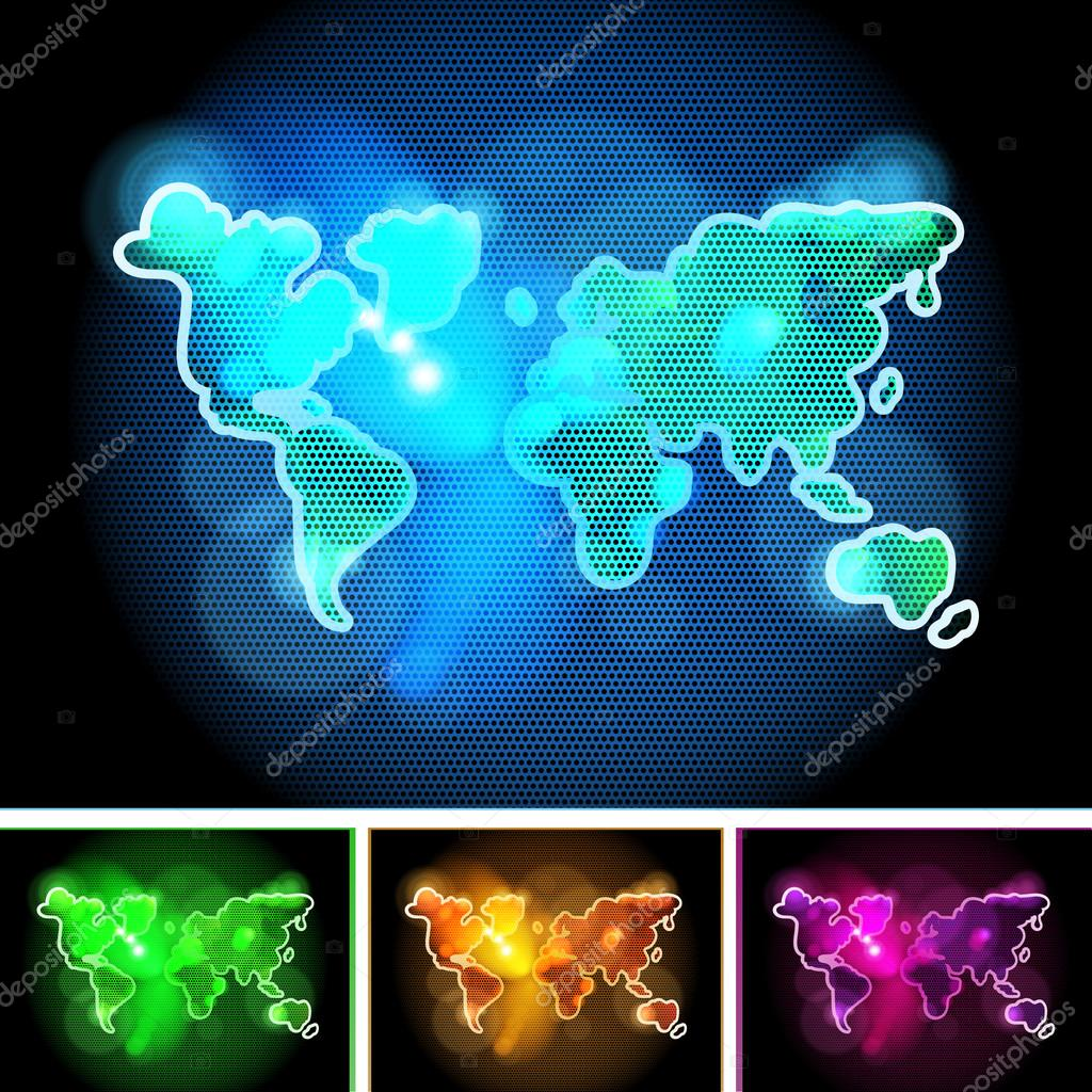 Futuristic Shiny Hand Drawn World Map Concept in Different Colors