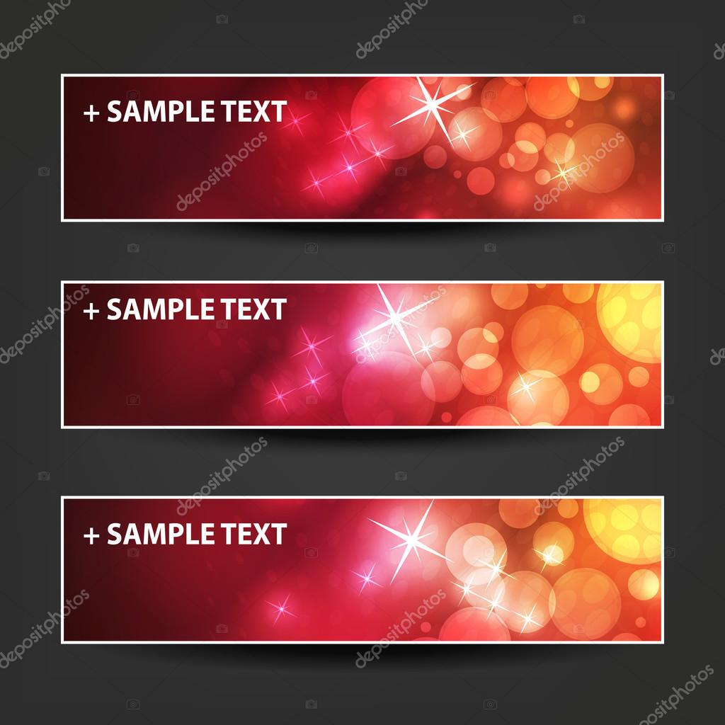 set of horizontal banner or header designs colors purple red