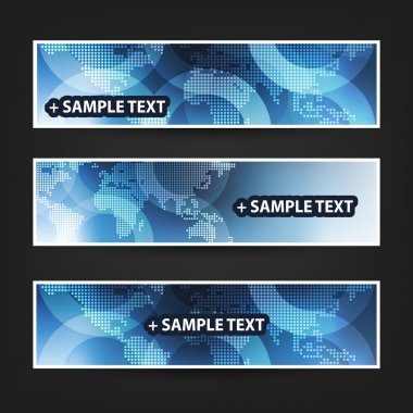 Set of Horizontal Banner Background Designs, Ad Templates - Light Blue and White Spotted World Map