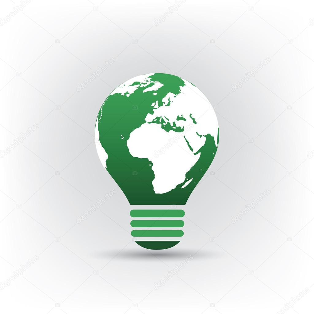 Bulb Design With Earth Globe, World Map - Eco Friendly Electricity