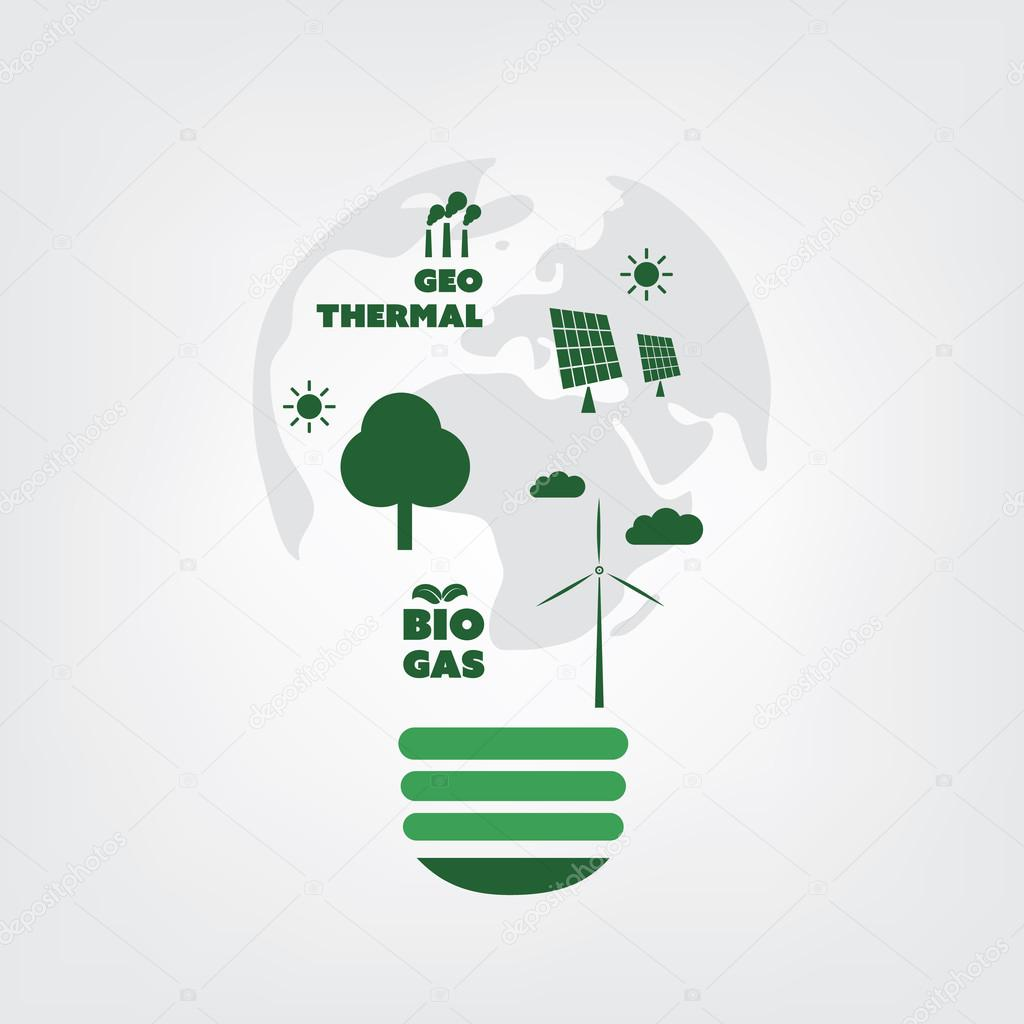 Think Green Eco Friendly Ideas In A Light Bulb Symbol Background Concept Design Stock