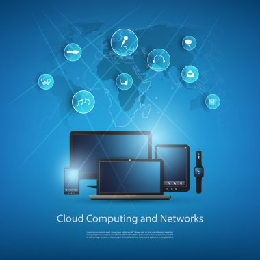 Cloud Computing And Global Networks Design Concept with World Map