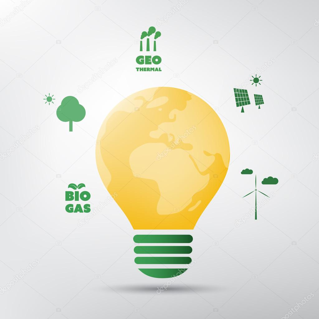 Think Green Eco Friendly Ideas Around A Light Bulb Globe Background Concept Design Stock