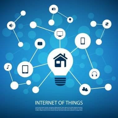 White And Blue Network Design Concept With Icons of Digital Devices - Internet Of Things