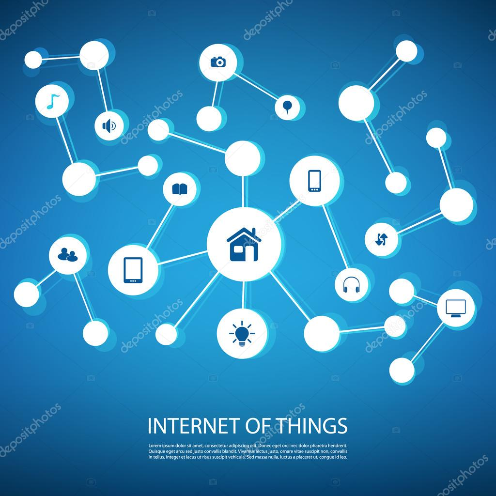 White And Blue Network Design Concept With Icons of Digital Devices ...