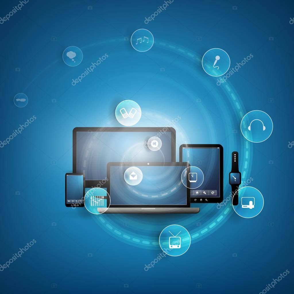 Cloud Computing And Networks Concept Design With Icons And Different Kind of Devices