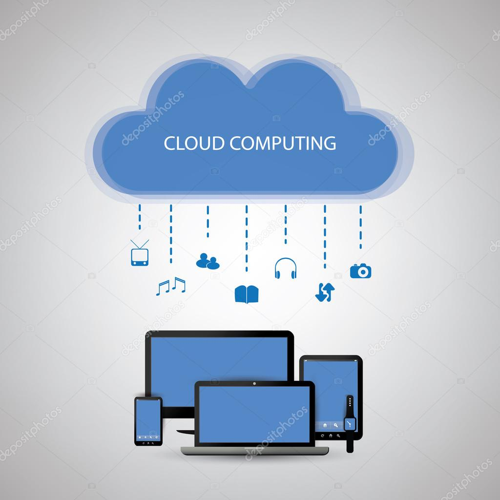 Cloud Computing Concept Design With Icons